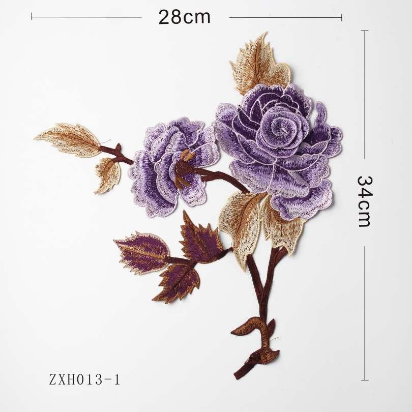 6 Vivid Color Embroidery Appliques Flower Design