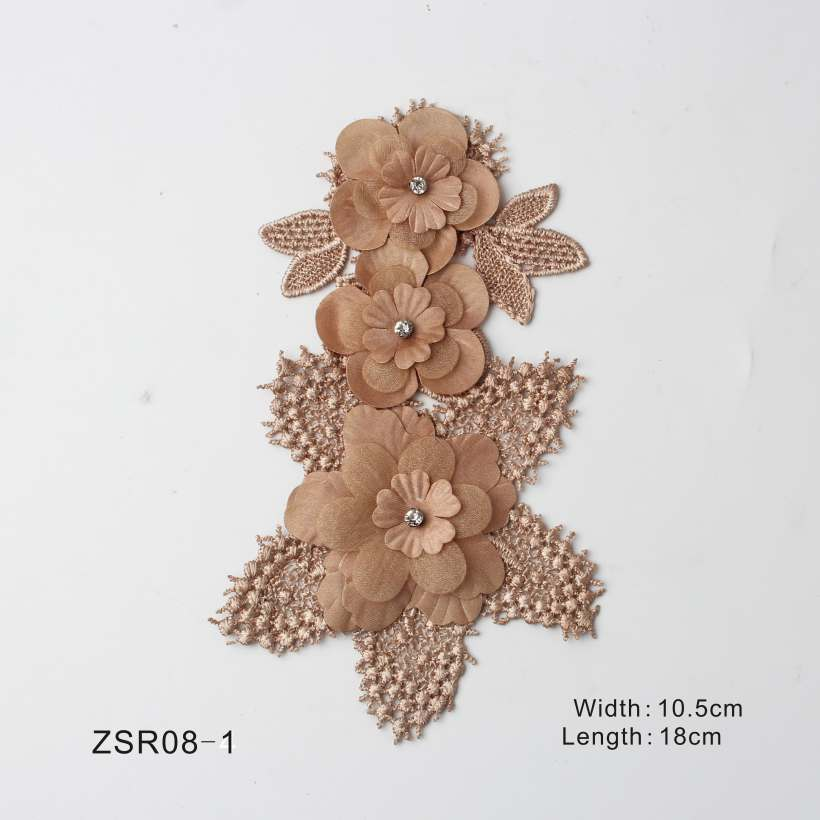 3 Style Vivid Flower Design With Rhinestones Lace Embroidery Appliques