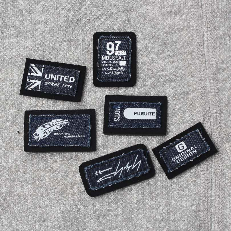 6 Letter Printed Woven Leather Labels With Fashion Design