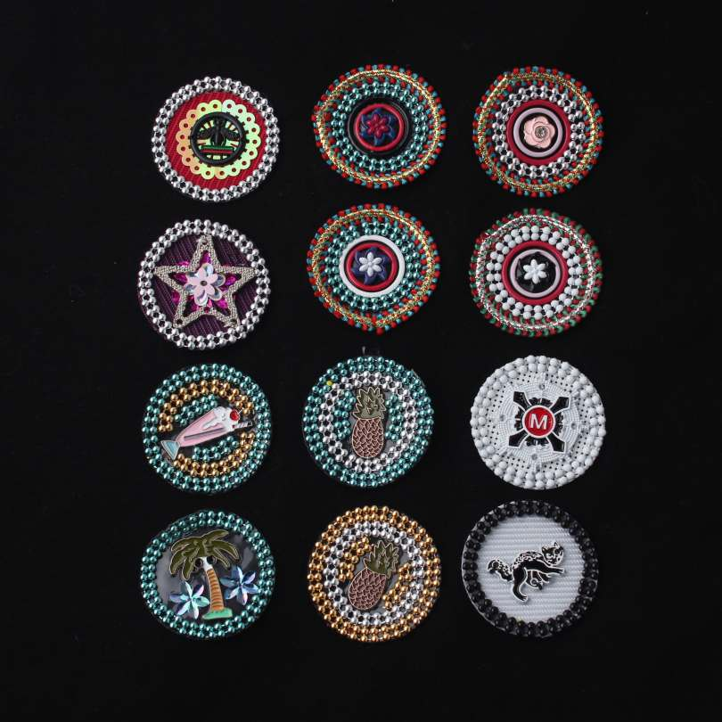 12 Style Round Shape & One Style Rectangle Shape Bead Appliques