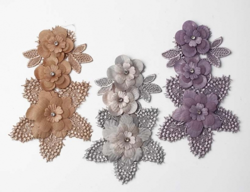 9 Style Vivid Flower Design With Rhinestones Appliques