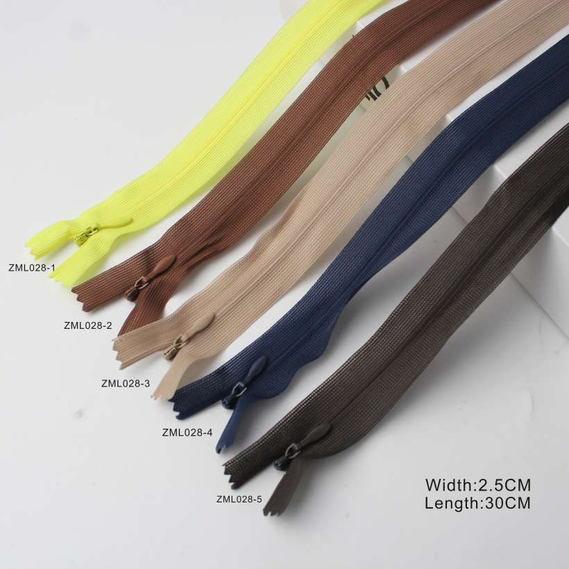 11 Designs Multi-color Invisible Zipper, OEM/ODM Support Invisible Zippers
