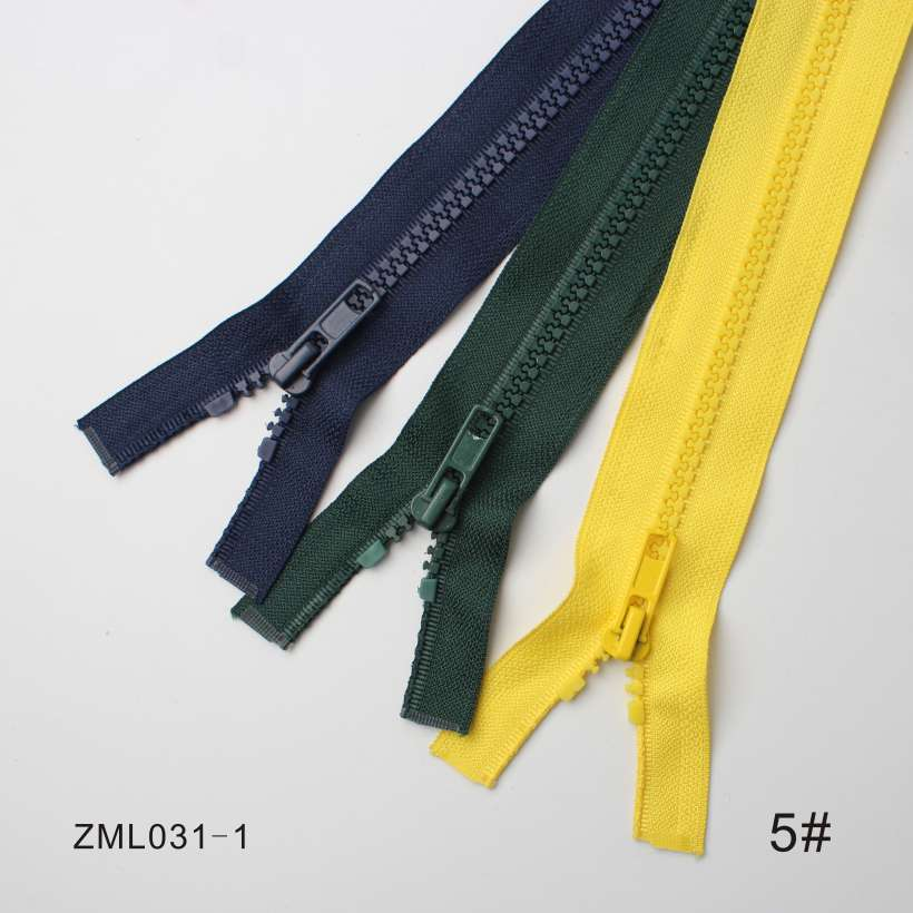3 Unique Design Automatic Head Open End Resin Zippers, OEM/ODM Support Resin Zippers
