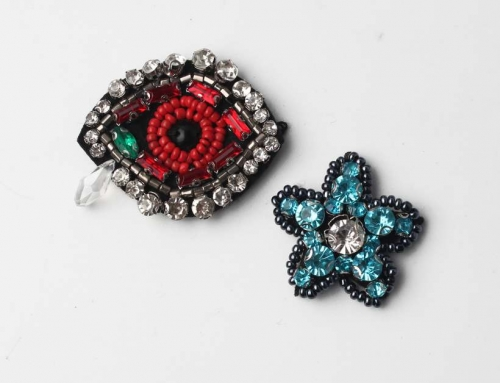 2 Unique Design Hand Stitched Rhinestone Applique Patch Accessory