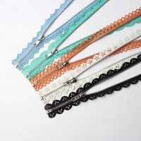 7 Style Metal Teeth Lace Decoration Open-End Zipper, OEM/ODM Support Lace Zippers