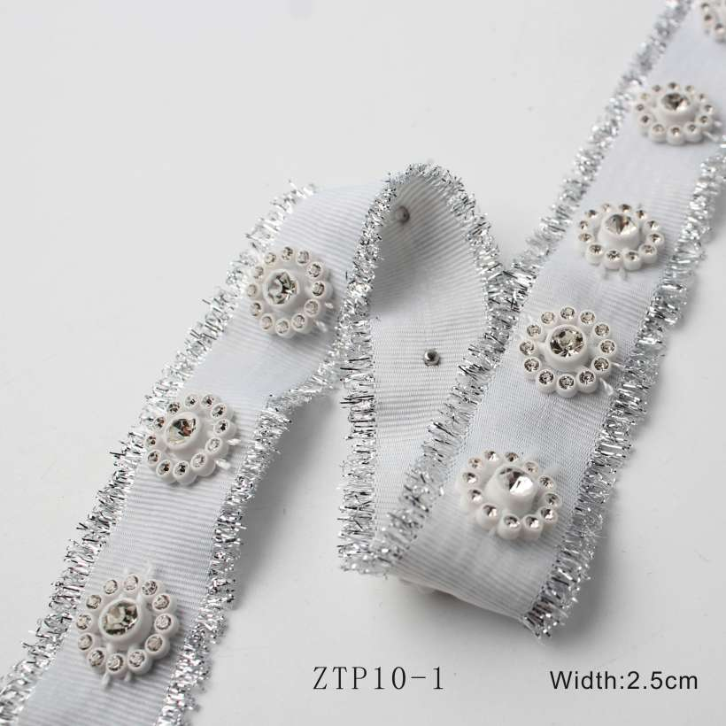 3 Style Unique Rhinestones Decorated With Silvery Edge Webbing,OEM/ODM Various Webbing