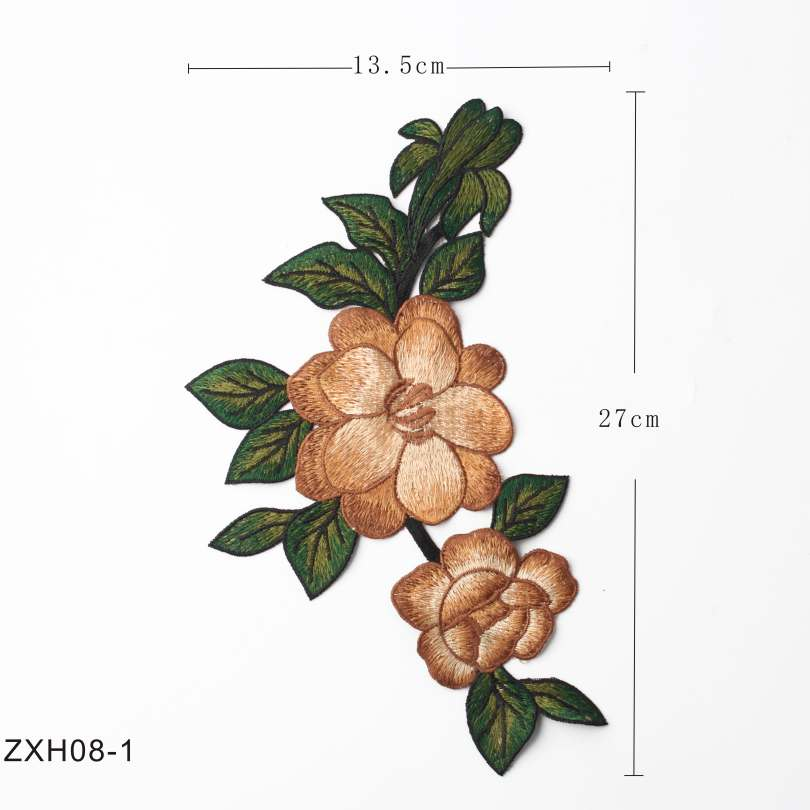 6 Unique Style Appliques Hot Melt Glue Flower Embroidered Stickers