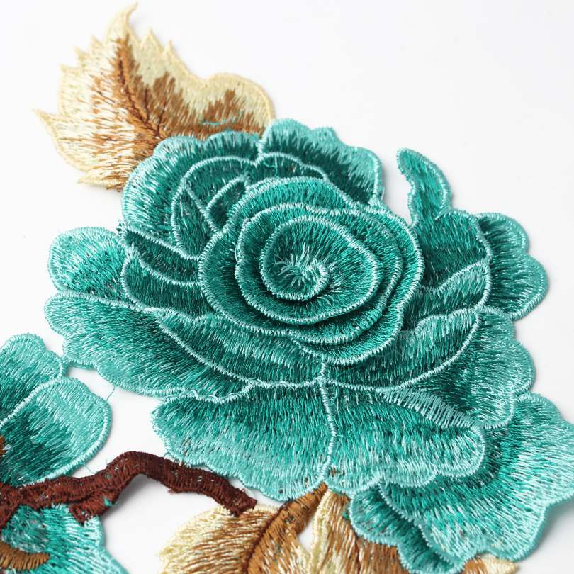 6 Vivid Color Embroidery Appliques Flower Design