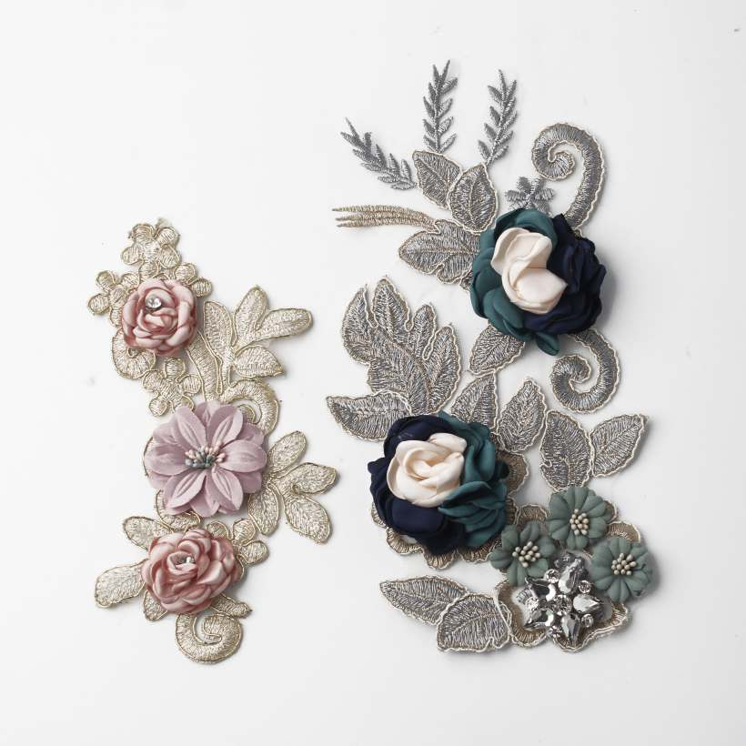 6 Style Unique Vivid Three-Dimensional Embroidered Flowers Design Appliques