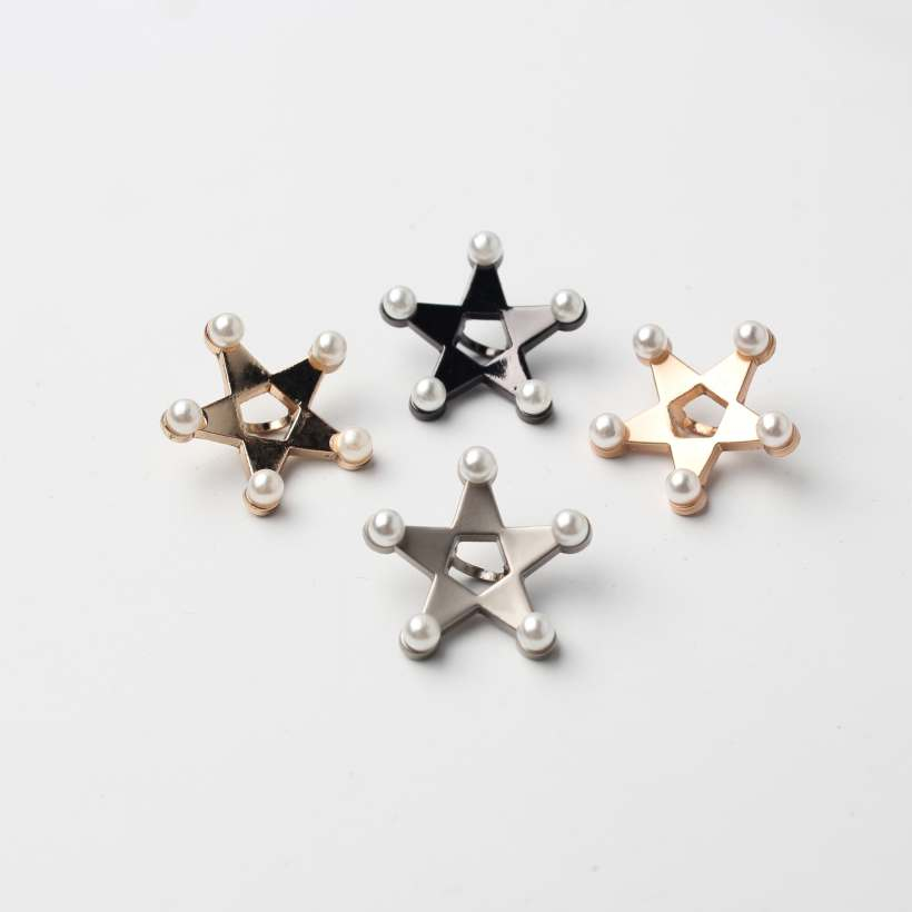 4 Style High-End Electroplating Five-Pointed Star Shape Pearl Hand Sewing Buttons