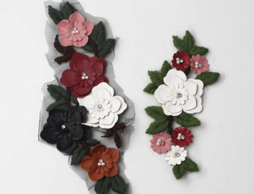 4 Style Very Vivid Woolen Yarn Appliques With Rhinestones And Pearl To Empower Your Design