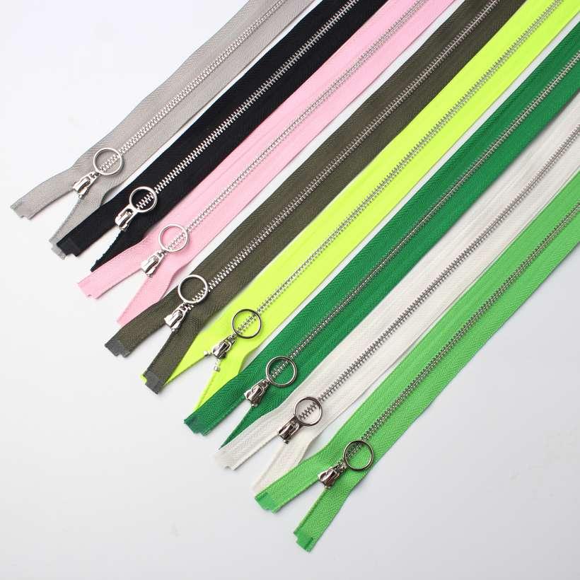 9 Design #3 White Copper Teeth Color Zippers