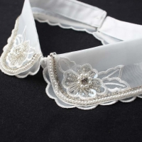 Nail Bead Rhinestone Fake Collar Transparent Organza Collar Female Double Lace Decoration Single Collar