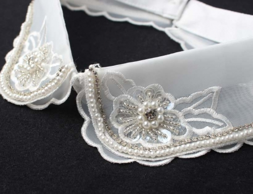3 Style Nail Bead Rhinestone Fake Collar Transparent Organza Collar Female Double Lace Decoration Single Collar