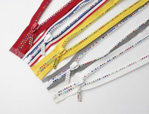 12 Style Crystal Rhinestone Teeth Decorative Zippers, OEM/ODM Support Ornaments Zippers