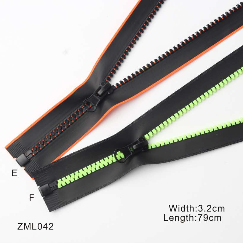 2 Design 6 Style Waterproof Open End Resin Zipper